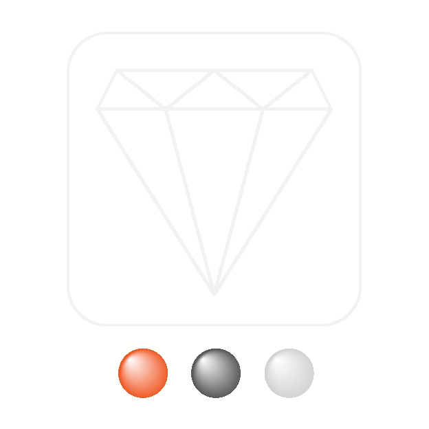 logo for Understated Excellence. A diamond outline inside a rounded box above three coloured orbs used for navigation
